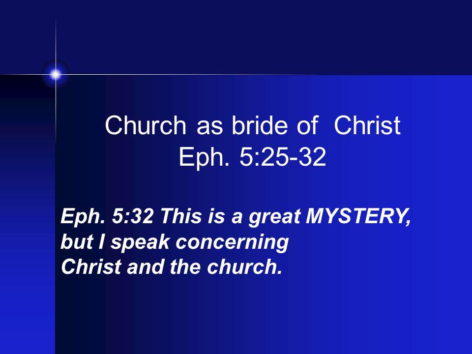 Church as bride of Christ Eph. 5:25-32 Eph.