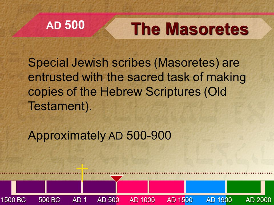 Special Jewish scribes (Masoretes) are entrusted with the sacred task of making copies of the Hebrew Scriptures (Old Testament).
