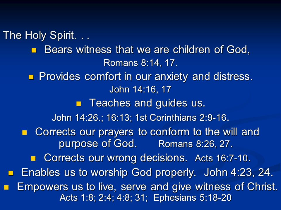 In the meantime, we are to walk in the Spirit .We are informed in Romans 8:1 that...