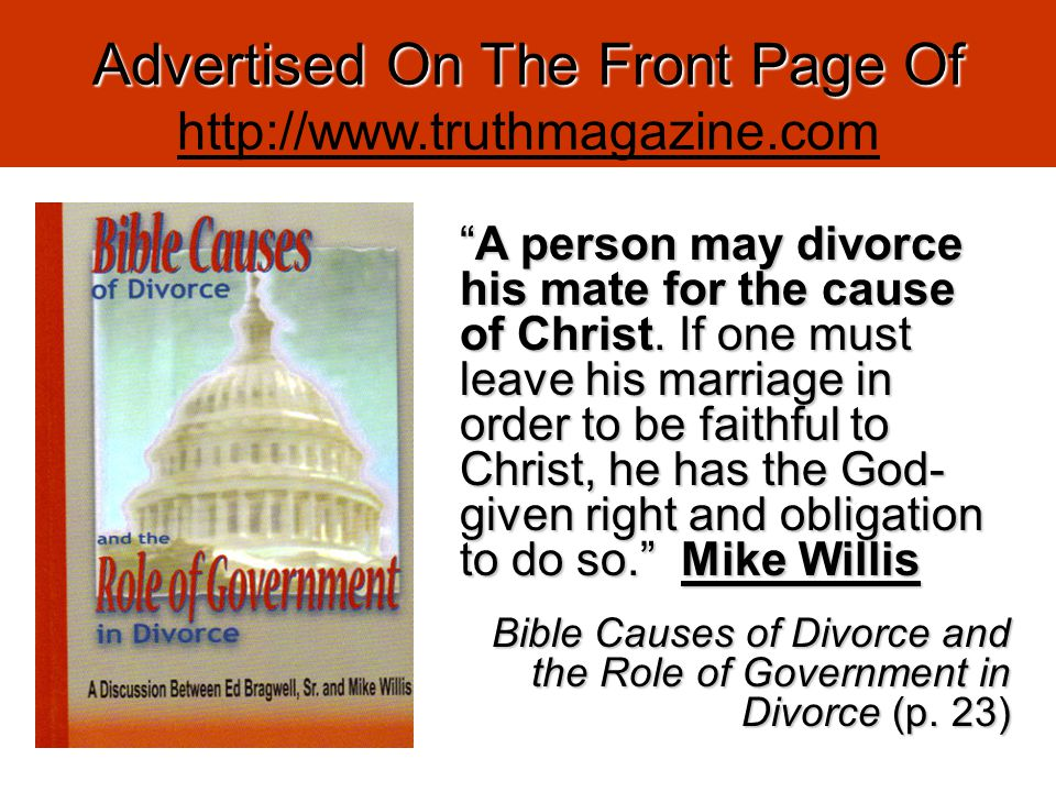 The Latest On Causes For Divorce 4) Married To One And Bound To Another [Those Who Have Either Wrongfully Put Away Or Who Have Been Wrongfully Divorced And Subsequently Married Another While Their Bound Mate Is Still Living (Mt.
