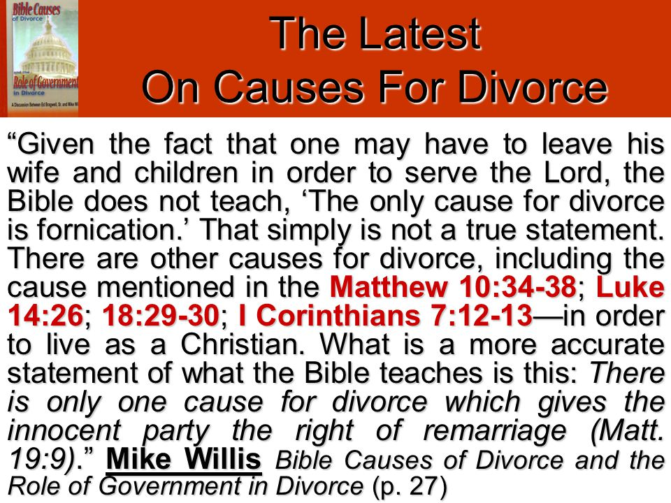 The Latest On Causes For Divorce Cp.w. Mk.