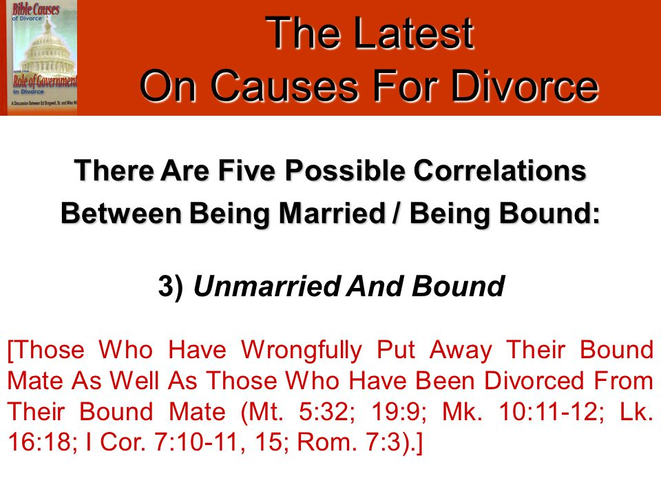 The Latest On Causes For Divorce 3) Unmarried And Bound [Those Who Have Wrongfully Put Away Their Bound Mate As Well As Those Who Have Been Divorced F
