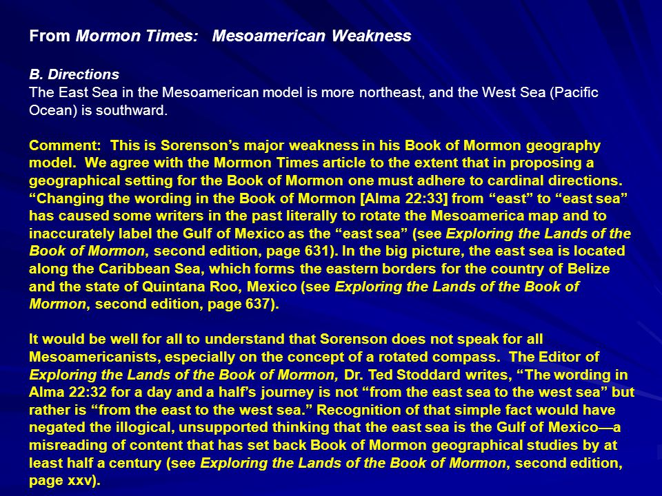 From Mormon Times: Mesoamerican Weakness B.