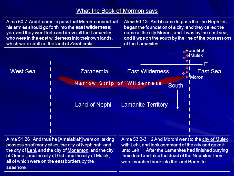 What the Book of Mormon says West SeaZarahemlaEast WildernessEast Sea Land of Nephi Lamanite Territory Alma 50:13 And it came to pass that the Nephites began the foundation of a city, and they called the name of the city Moroni; and it was by the east sea; and it was on the south by the line of the possessions of the Lamanites.