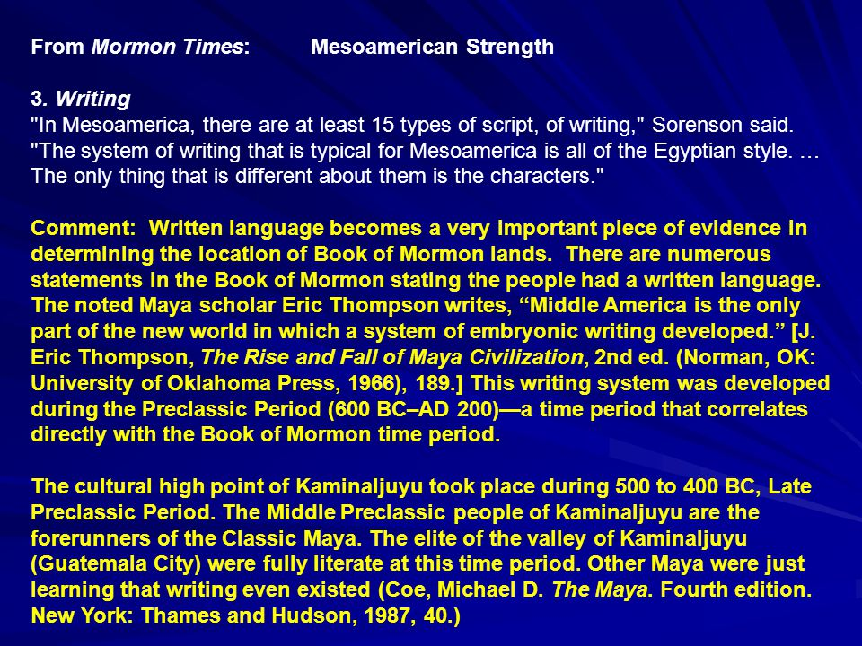 From Mormon Times: Mesoamerica Strength 4.Archaeology.