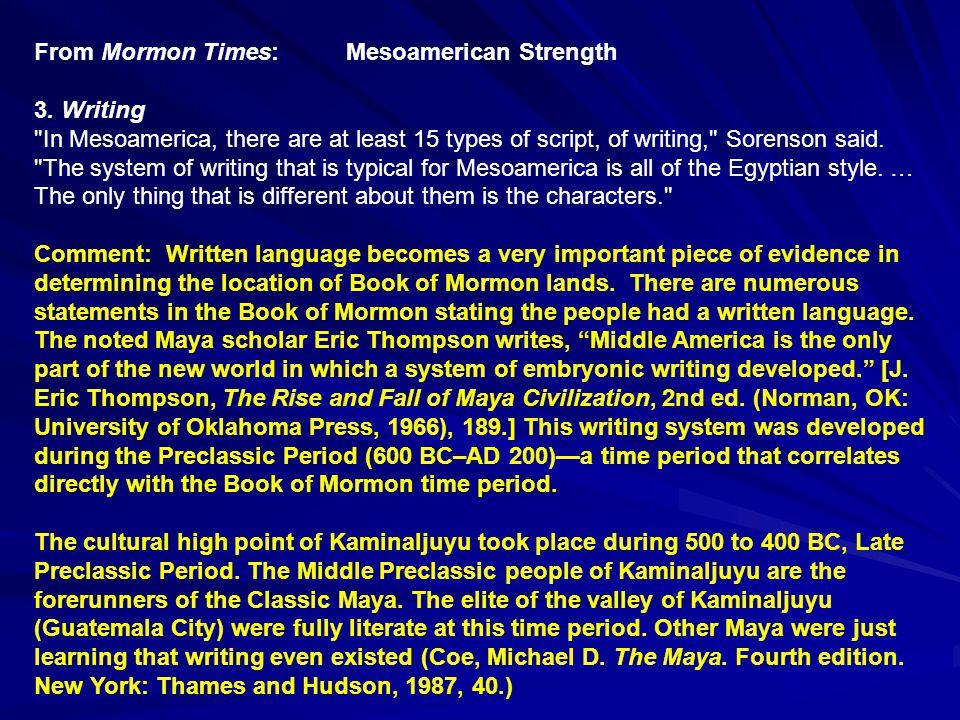 From Mormon Times: Mesoamerican Weakness D.