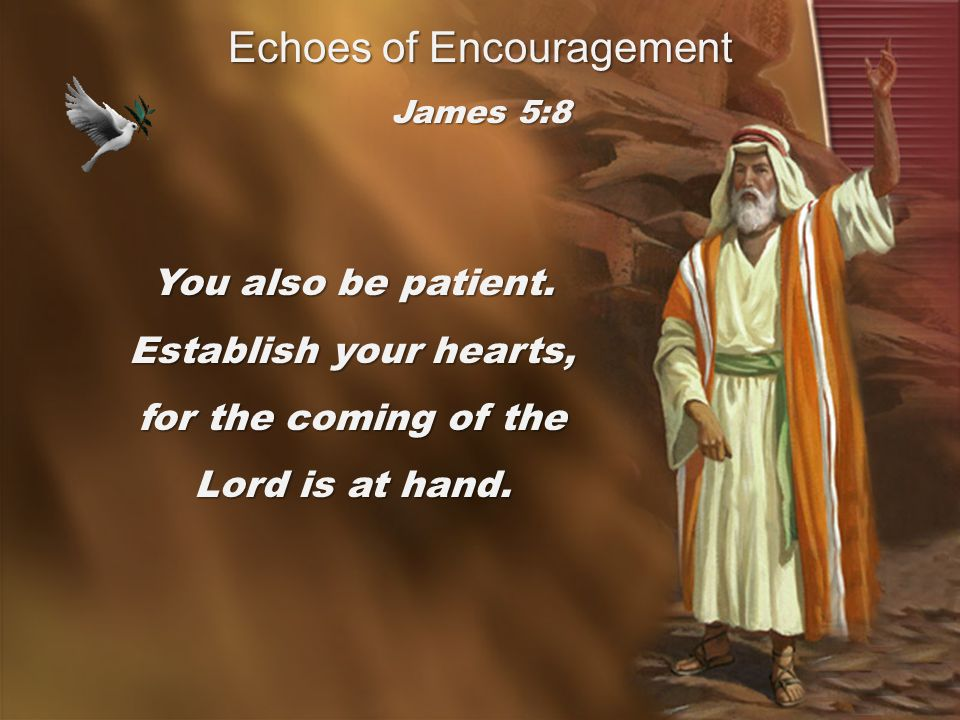 You also be patient. Establish your hearts, for the coming of the Lord is at hand. James 5:8