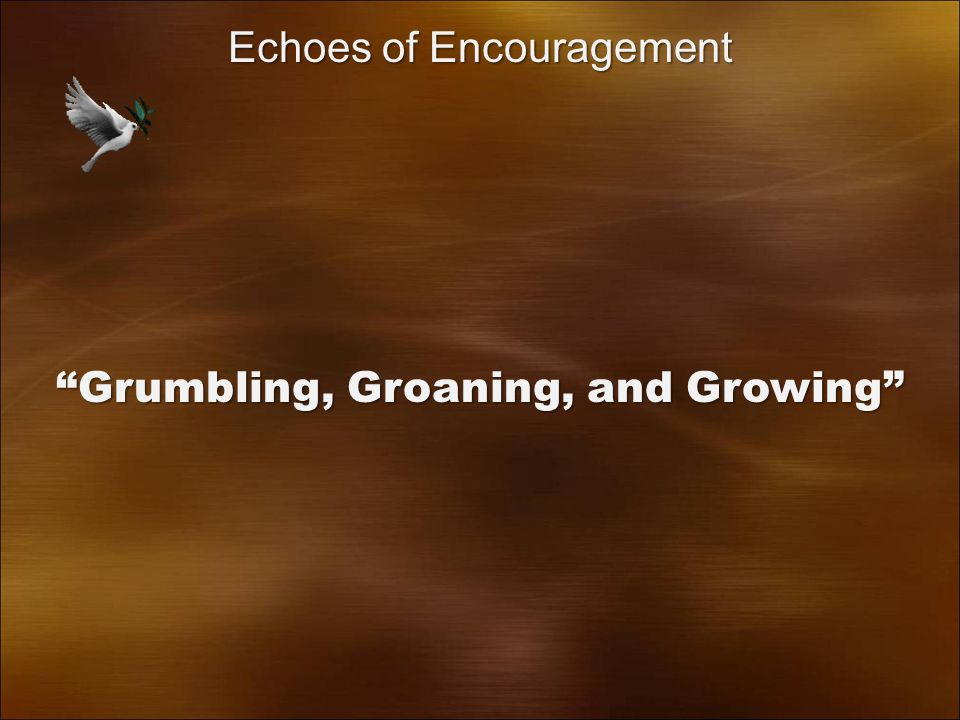 Grumbling, Groaning, and Growing Echoes of Encouragement