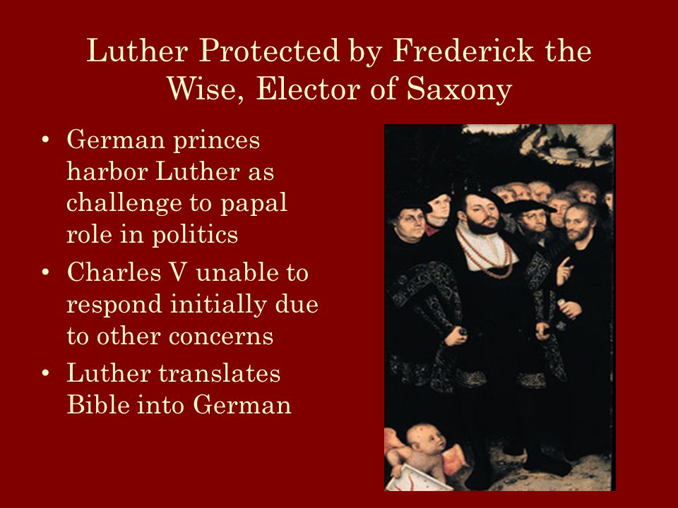 Luther Protected by Frederick the Wise, Elector of Saxony German princes harbor Luther as challenge to papal role in politics Charles V unable to respond initially due to other concerns Luther translates Bible into German