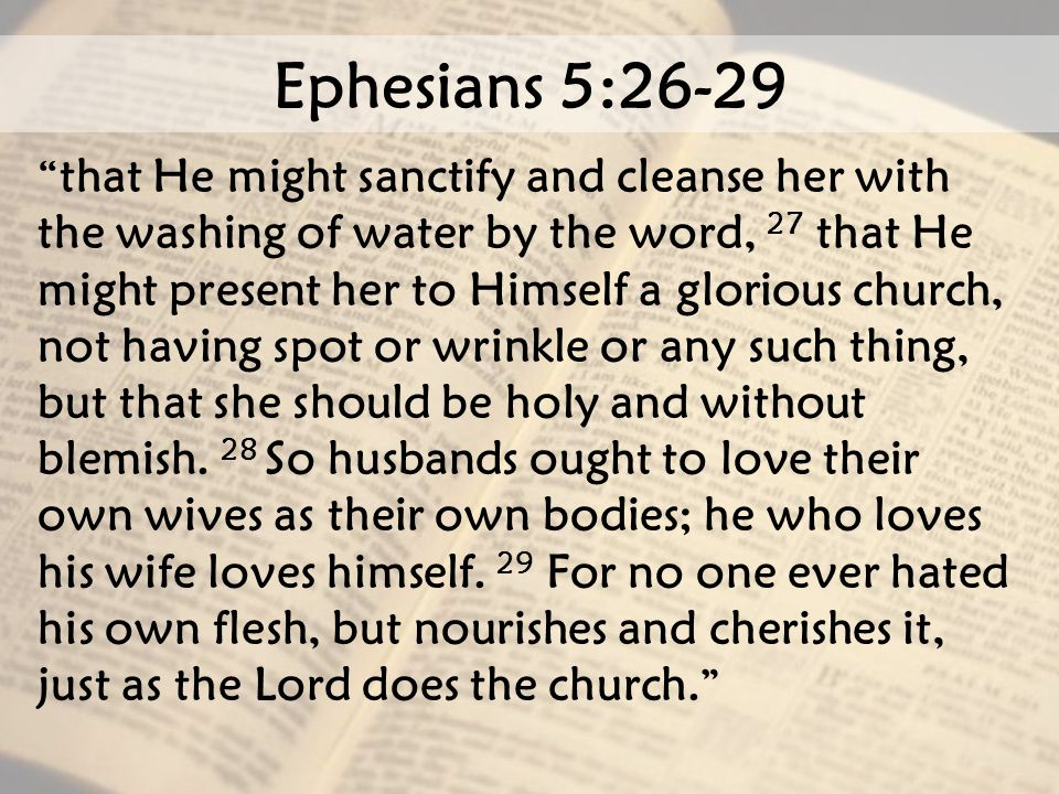 Ephesians 5:26-29 that He might sanctify and cleanse her with the washing of water by the word, 27 that He might present her to Himself a glorious church, not having spot or wrinkle or any such thing, but that she should be holy and without blemish.