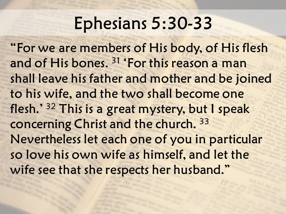 "Ephesians 5:30-33 ""For we are members of His body, of His flesh and of His bones. 31 'For this reason a man shall leave his father and mother and be j"