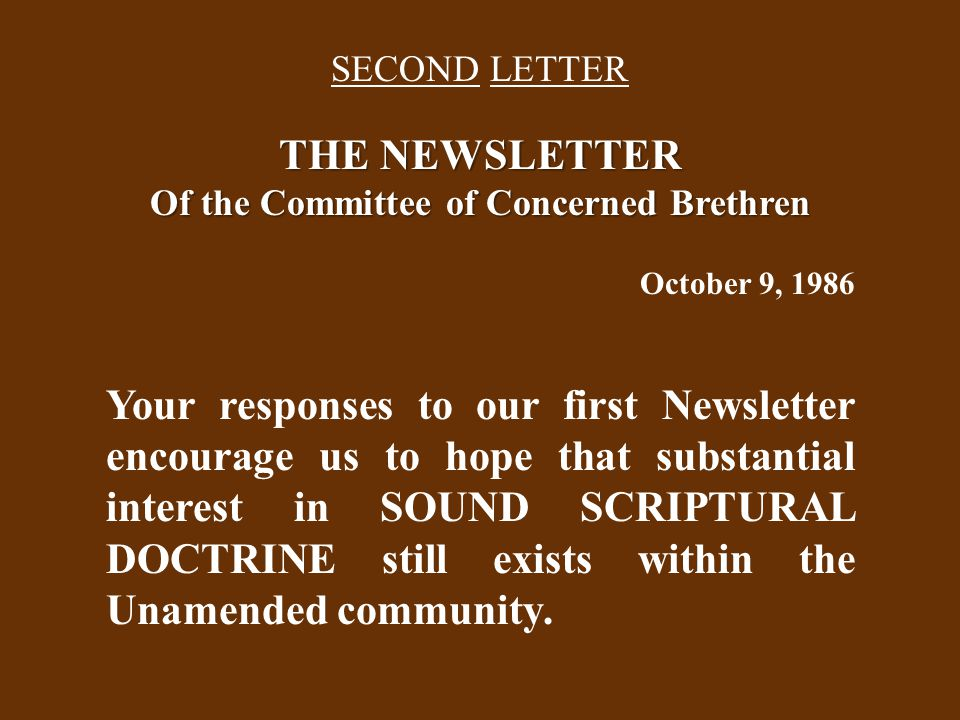 Amended Response to The Advocate Editorial of September, 1986 In the editorial in The Christadelphian Advocate, September, 1986, which set out the issues of differences between the Unamended and Amended fellowships, the declarations describing the Amended viewpoint are not truly representative.