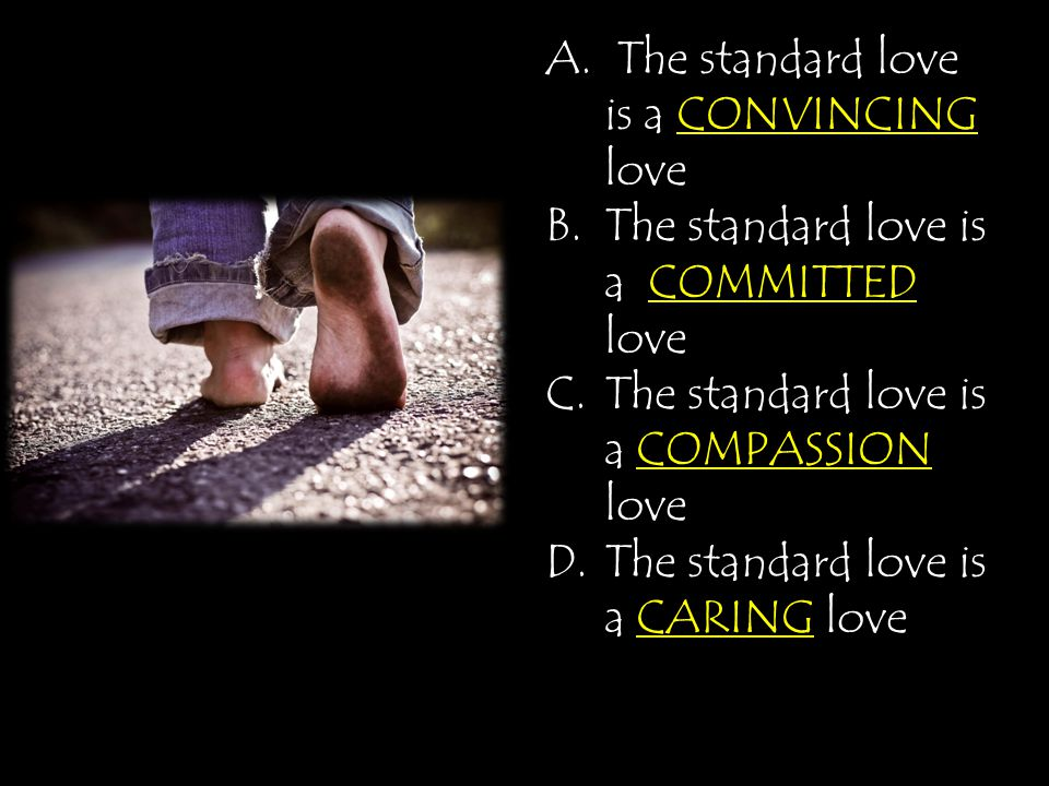 A. The standard love is a CONVINCING love B.The standard love is a COMMITTED love C.The standard love is a COMPASSION love CARING D.The standard love