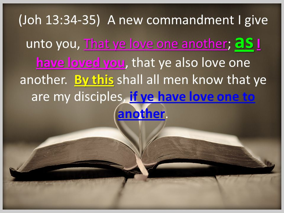 That ye love one another as I have loved you By this (Joh 13:34-35) A new commandment I give unto you, That ye love one another; as I have loved you,