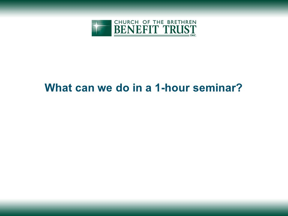 What can we do in a 1-hour seminar?