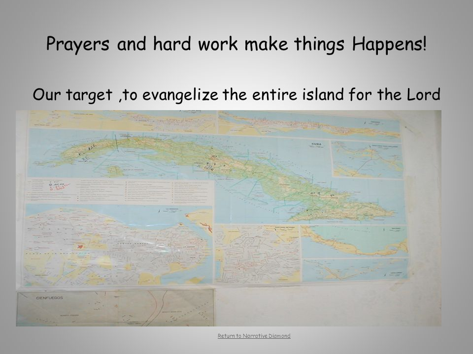 Prayers and hard work make things Happens! Our target,to evangelize the entire island for the Lord An adventure or special quest??? A conflict with an