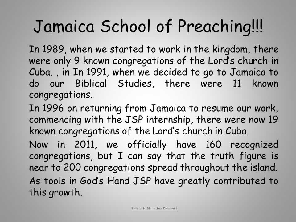 Jamaica School of Preaching!!! In 1989, when we started to work in the kingdom, there were only 9 known congregations of the Lord's church in Cuba., i