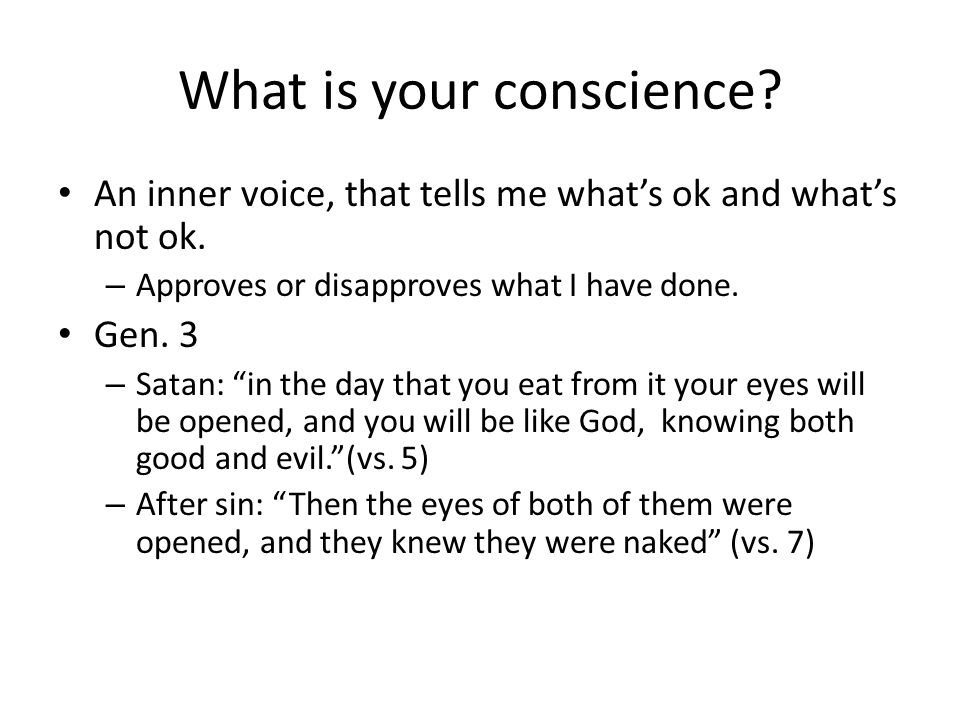 What is your conscience. An inner voice, that tells me what's ok and what's not ok.