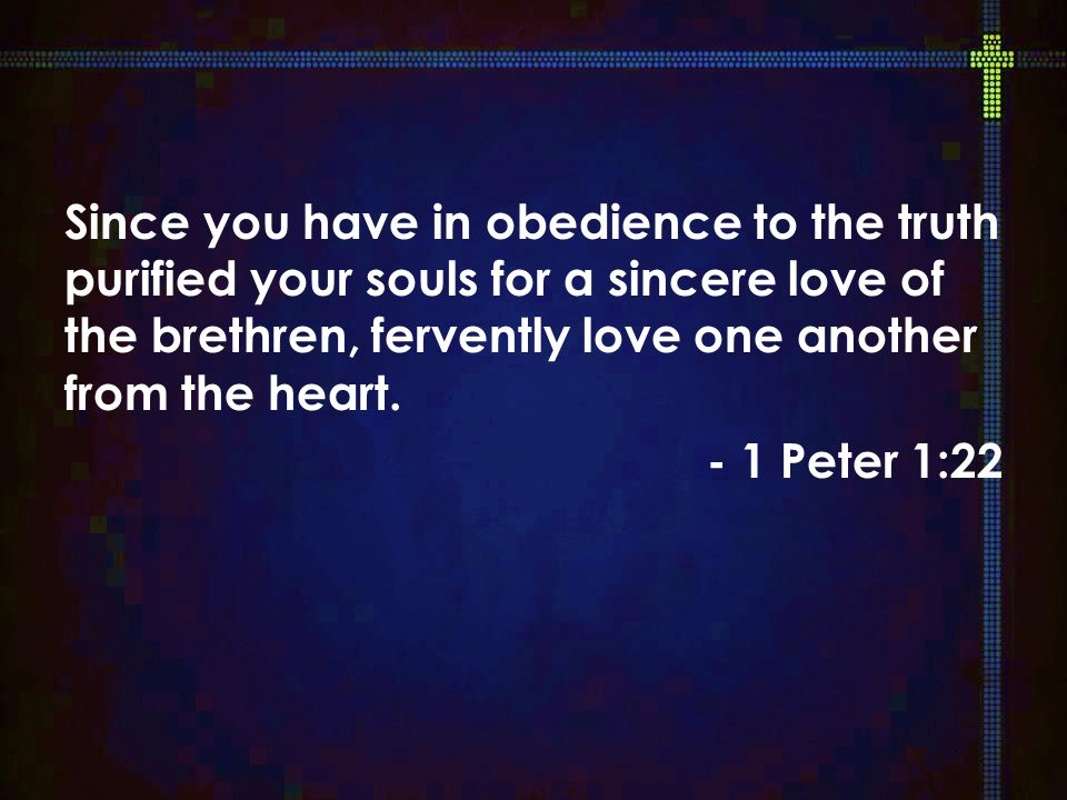 Since you have in obedience to the truth purified your souls for a sincere love of the brethren, fervently love one another from the heart.