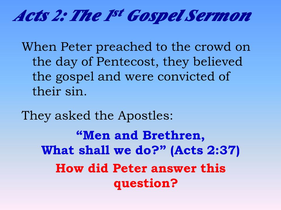 Acts 2: The 1 st Gospel Sermon When Peter preached to the crowd on the day of Pentecost, they believed the gospel and were convicted of their sin.