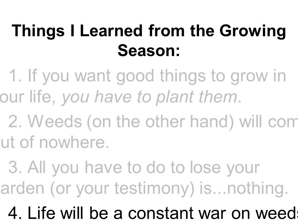 Things I Learned from the Growing Season: ▪1. If you want good things to grow in your life, you have to plant them. ▪2. Weeds (on the other hand) will