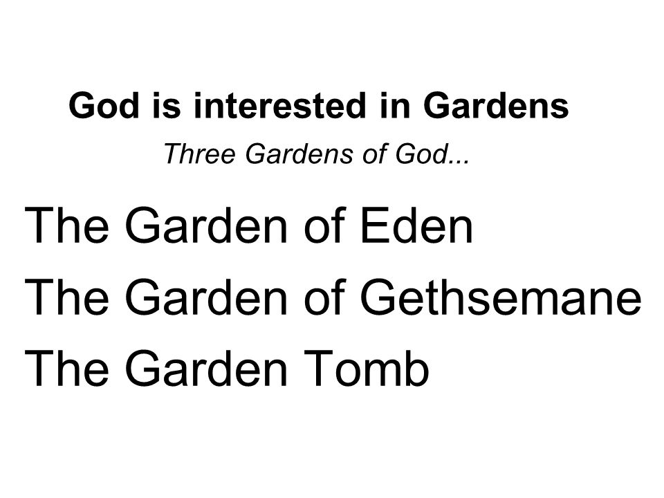 God is interested in Gardens Three Gardens of God... ▪The Garden of Eden ▪The Garden of Gethsemane ▪The Garden Tomb