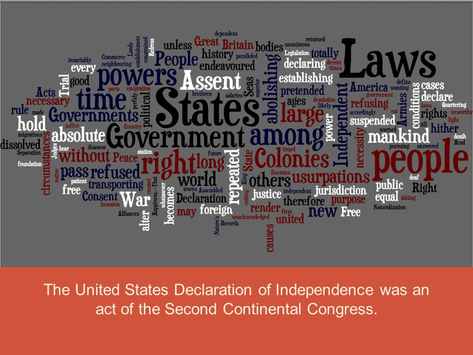 The United States Declaration of Independence was an act of the Second Continental Congress.