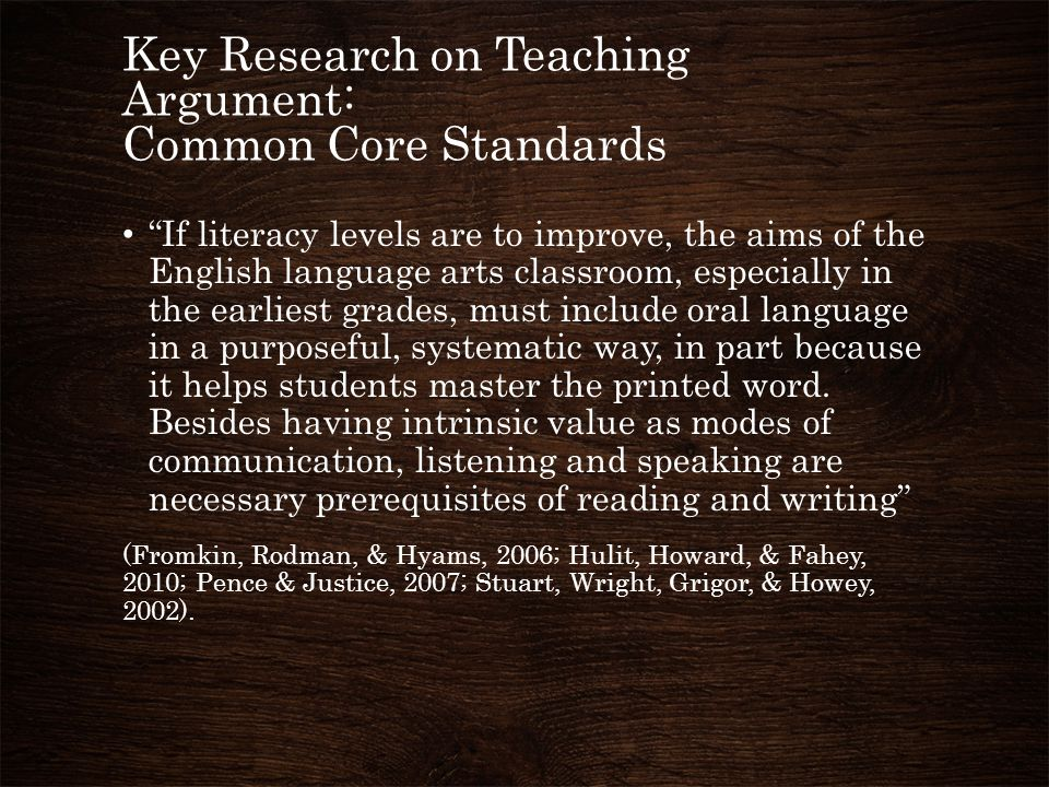 """Key Research on Teaching Argument: Common Core Standards """"If literacy levels are to improve, the aims of the English language arts classroom, especial"""
