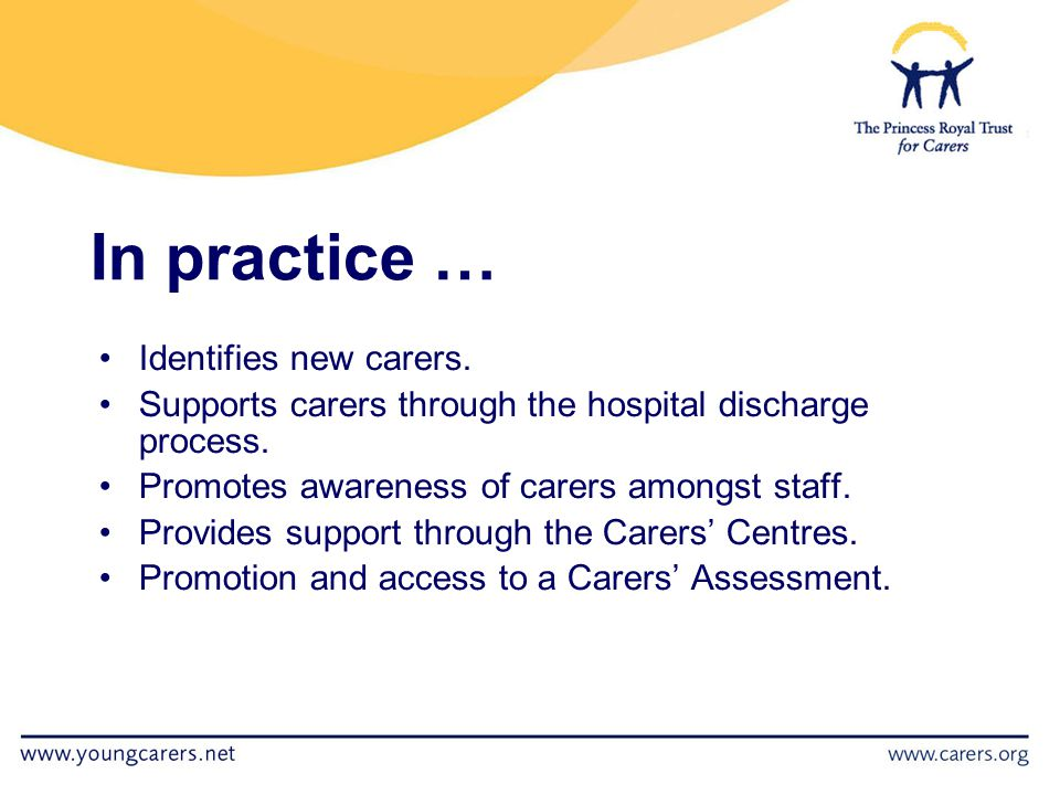 In practice … Identifies new carers. Supports carers through the hospital discharge process.