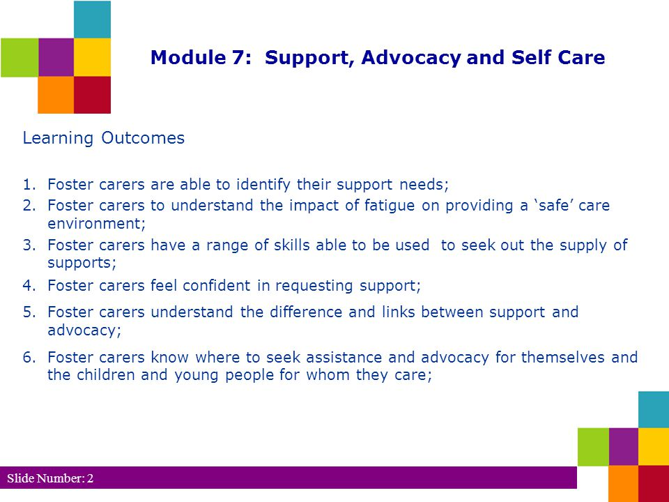Slide Number: 2 Module 7: Support, Advocacy and Self Care Learning Outcomes 1.
