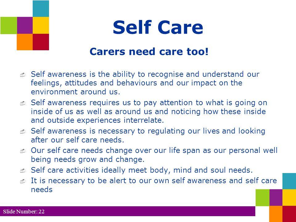Self Care Carers need care too.