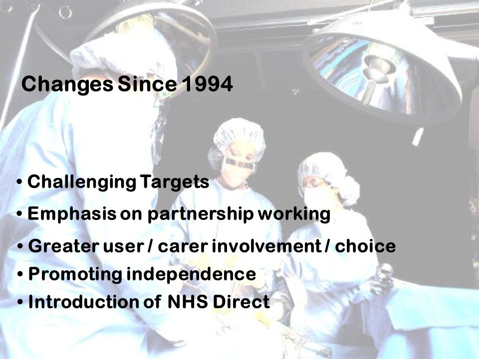 Changes Since 1994 Challenging Targets Emphasis on partnership working Greater user / carer involvement / choice Promoting independence Introduction of NHS Direct
