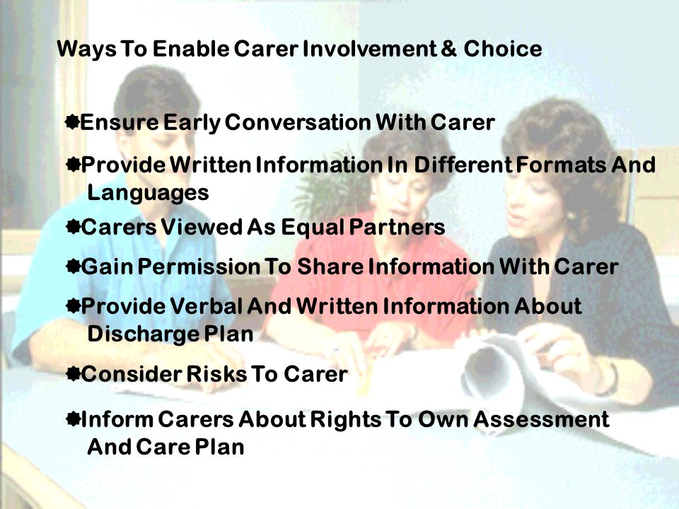 Ways To Enable Carer Involvement & Choice  Ensure Early Conversation With Carer  Provide Written Information In Different Formats And Languages  Carers Viewed As Equal Partners  Gain Permission To Share Information With Carer  Provide Verbal And Written Information About Discharge Plan  Consider Risks To Carer  Inform Carers About Rights To Own Assessment And Care Plan