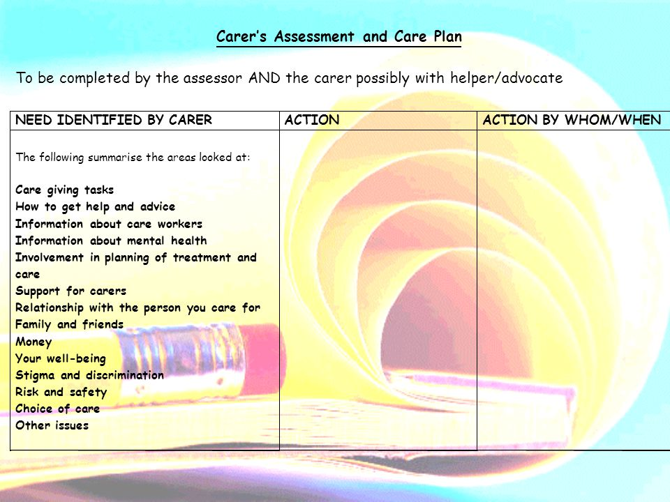 Carer's Assessment and Care Plan To be completed by the assessor AND the carer possibly with helper/advocate NEED IDENTIFIED BY CARERACTIONACTION BY WHOM/WHEN The following summarise the areas looked at: Care giving tasks How to get help and advice Information about care workers Information about mental health Involvement in planning of treatment and care Support for carers Relationship with the person you care for Family and friends Money Your well-being Stigma and discrimination Risk and safety Choice of care Other issues
