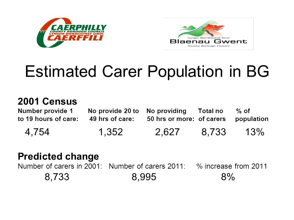 Estimated Carer Population in BG 2001 Census Number provide 1 No provide 20 to No providing Total no % of to 19 hours of care: 49 hrs of care: 50 hrs