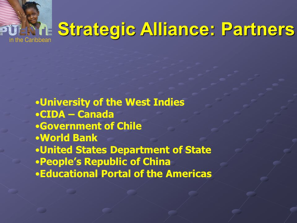 University of the West Indies CIDA – Canada Government of Chile World Bank United States Department of State People's Republic of China Educational Portal of the Americas Strategic Alliance: Partners