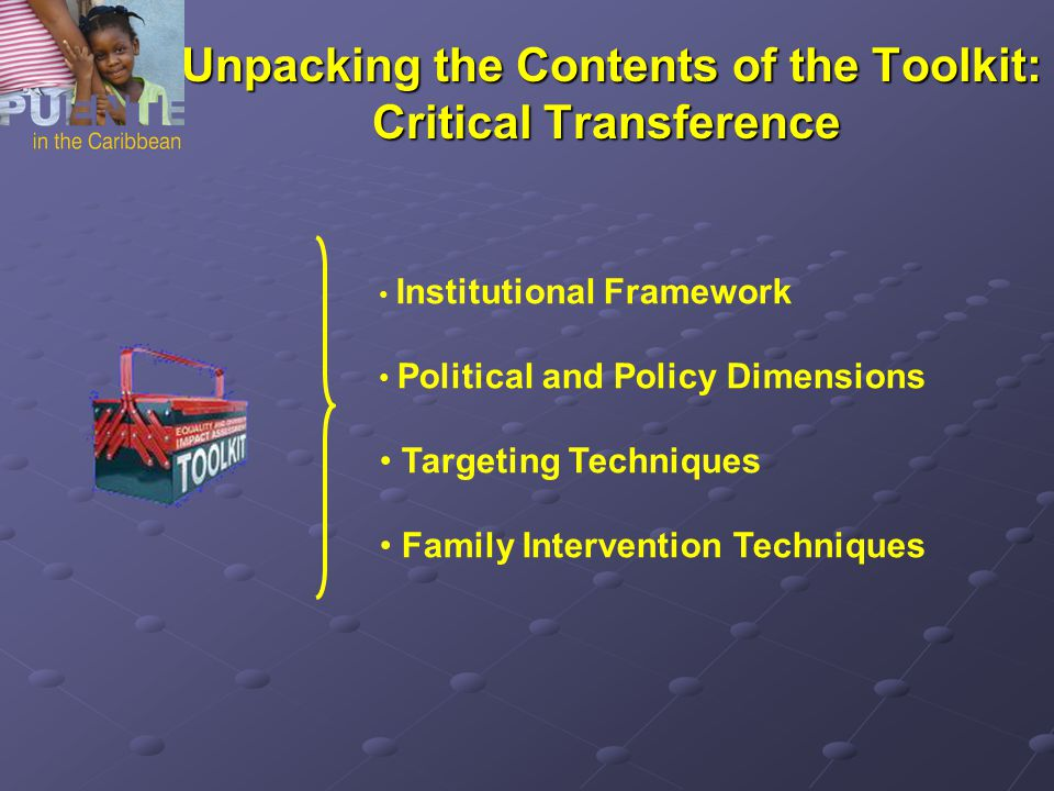 Unpacking the Contents of the Toolkit: Critical Transference Unpacking the Contents of the Toolkit: Critical Transference Institutional Framework Political and Policy Dimensions Targeting Techniques Family Intervention Techniques