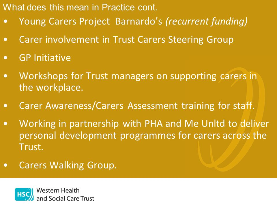 Young Carers Project Barnardo's (recurrent funding) Carer involvement in Trust Carers Steering Group GP Initiative Workshops for Trust managers on supporting carers in the workplace.