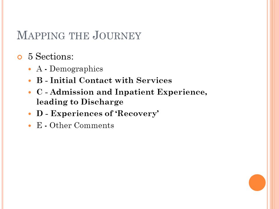 M APPING THE J OURNEY 5 Sections: A - Demographics B - Initial Contact with Services C - Admission and Inpatient Experience, leading to Discharge D - Experiences of 'Recovery' E - Other Comments