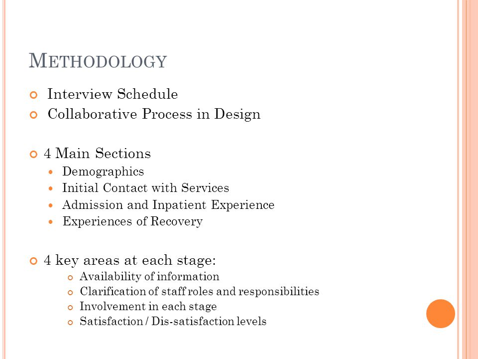 M ETHODOLOGY Interview Schedule Collaborative Process in Design 4 Main Sections Demographics Initial Contact with Services Admission and Inpatient Experience Experiences of Recovery 4 key areas at each stage: Availability of information Clarification of staff roles and responsibilities Involvement in each stage Satisfaction / Dis-satisfaction levels