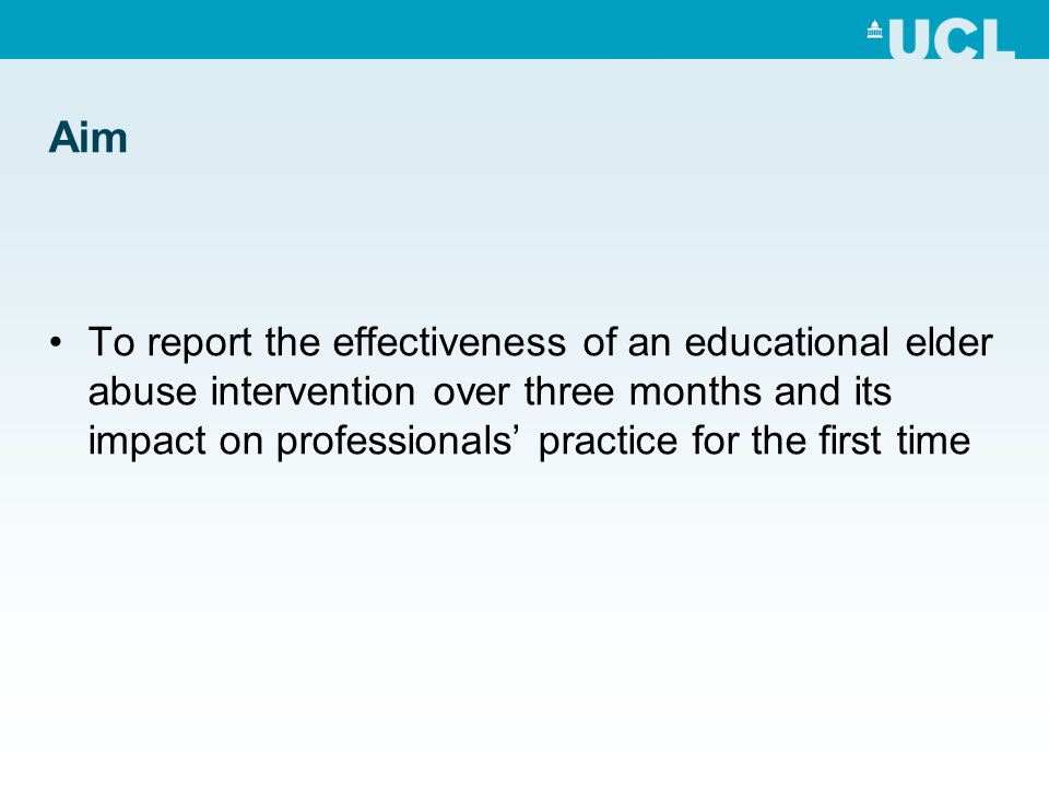 Aim To report the effectiveness of an educational elder abuse intervention over three months and its impact on professionals' practice for the first t