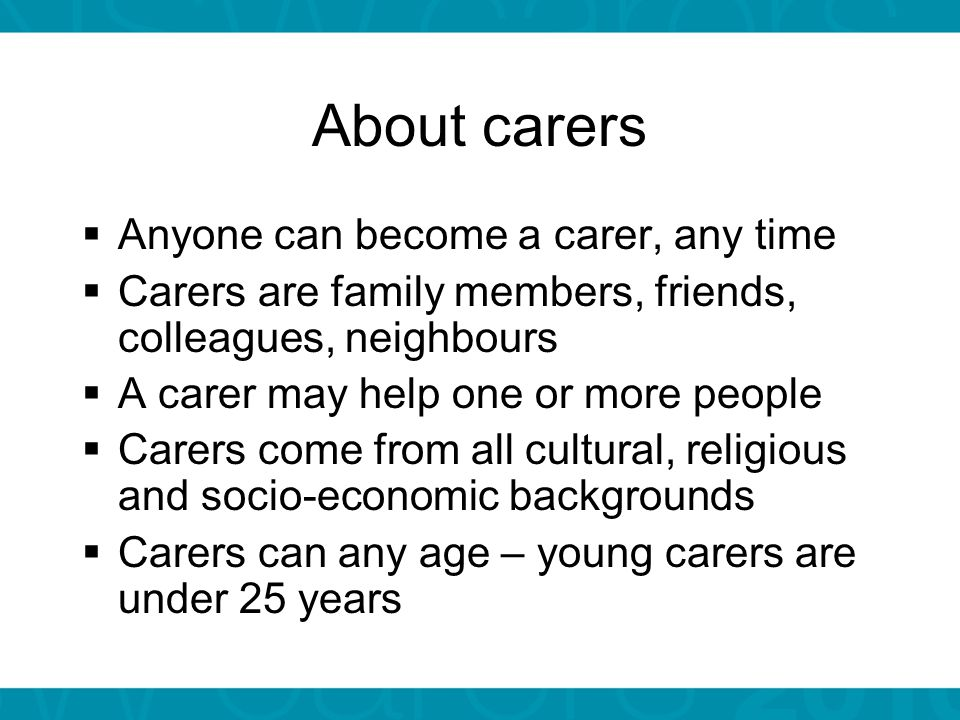 NSW Carers Charter Contains 13 principles based on the following themes: Recognise and support carers' valuable contribution to the people they care for and their community.