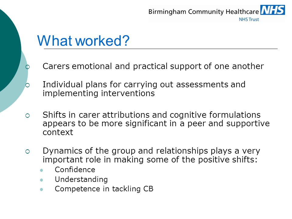 What worked?  Carers emotional and practical support of one another  Individual plans for carrying out assessments and implementing interventions 