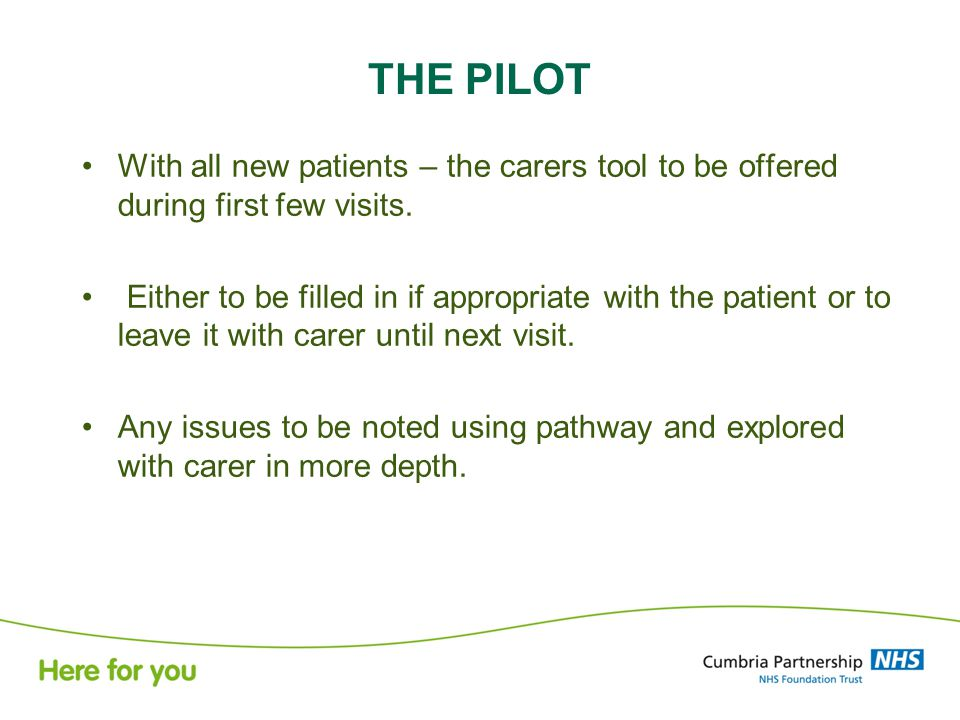 THE PILOT With all new patients – the carers tool to be offered during first few visits.