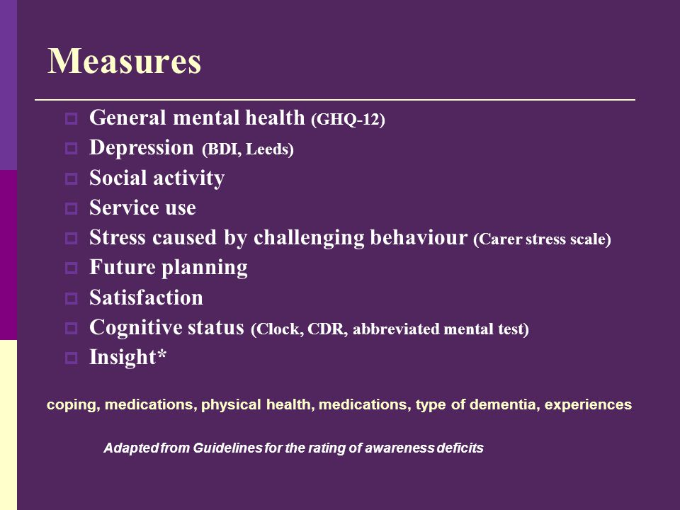 Measures  General mental health (GHQ-12)  Depression (BDI, Leeds)  Social activity  Service use  Stress caused by challenging behaviour (Carer st