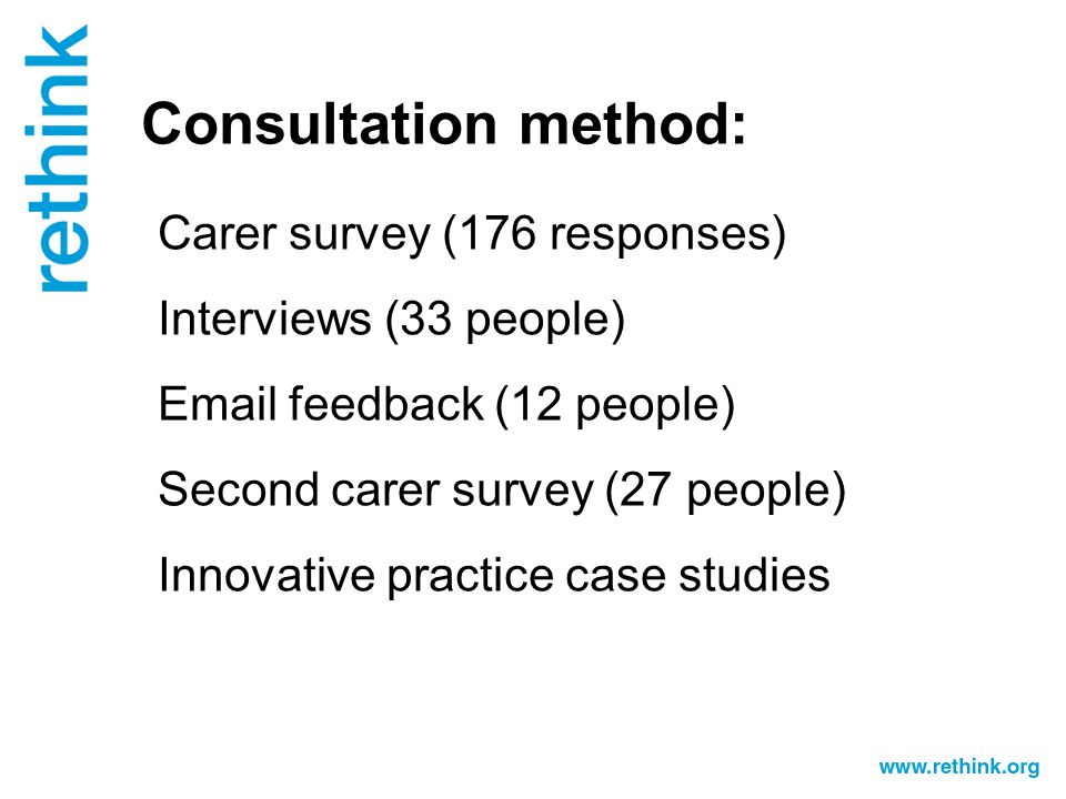 Consultation method: Carer survey (176 responses) Interviews (33 people) Email feedback (12 people) Second carer survey (27 people) Innovative practice case studies