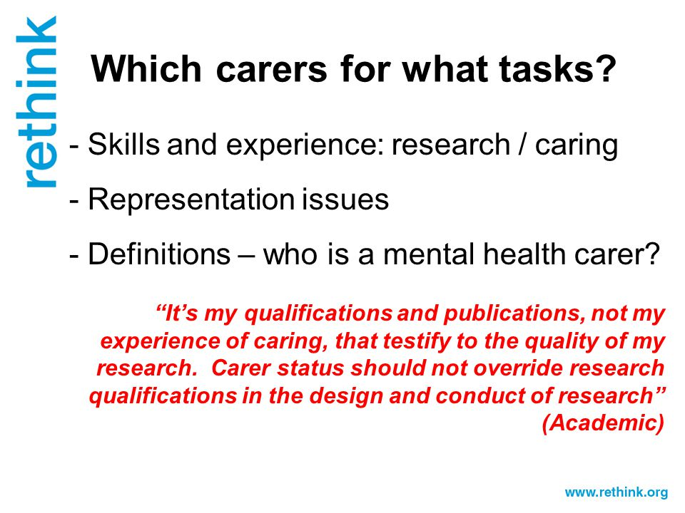 Which carers for what tasks.