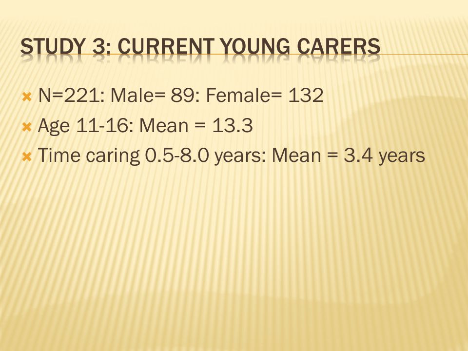  N=221: Male= 89: Female= 132  Age 11-16: Mean = 13.3  Time caring 0.5-8.0 years: Mean = 3.4 years