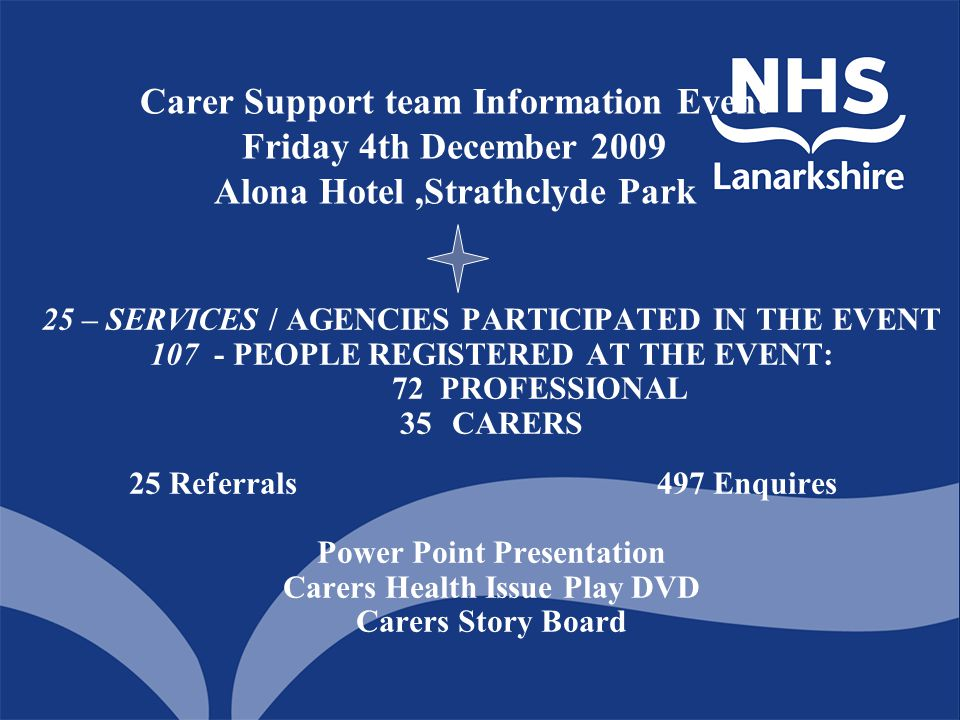 Carer Support team Information Event Friday 4th December 2009 Alona Hotel,Strathclyde Park 25 – SERVICES / AGENCIES PARTICIPATED IN THE EVENT 107 - PE
