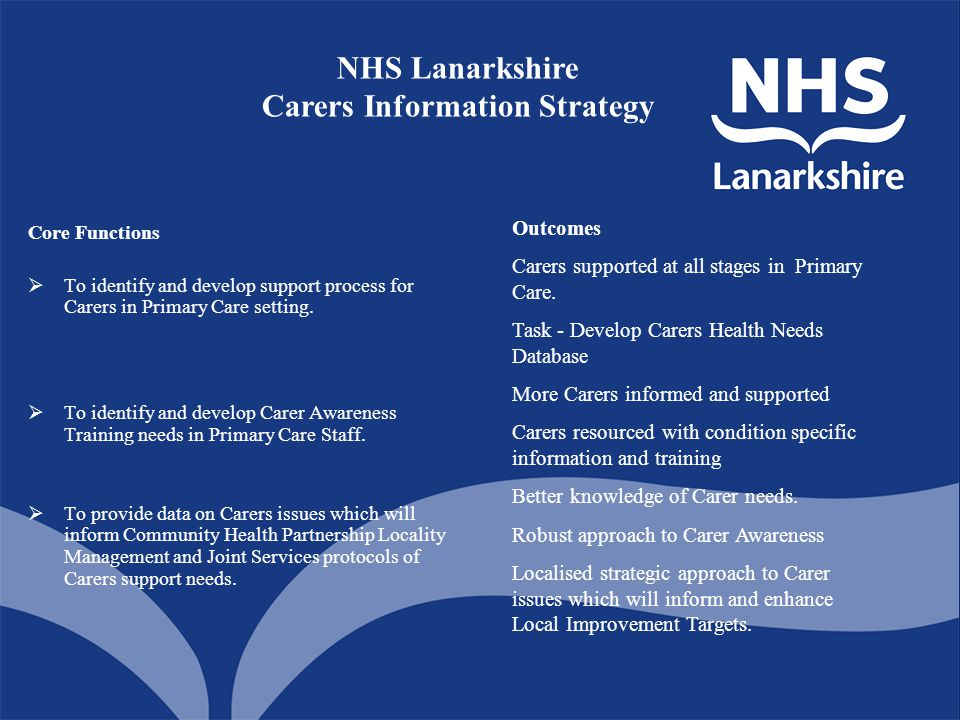 Core Functions  To identify and develop support process for Carers in Primary Care setting.  To identify and develop Carer Awareness Training needs